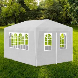 Pavillon Partyzelt 3 x 4 m Weiß Faltpavillon wasserabweisend & stabil