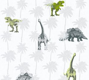 A.S. Création Vliestapete Little Stars Ökotapete grau grün weiß 10,05 m x 0,53 m 358352 35835-2