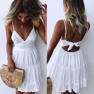 Frauen Sommer rückenfreies Minikleid Weiß Abendparty Strandkleider Sommerkleid Größe:M,Farbe:Weiß