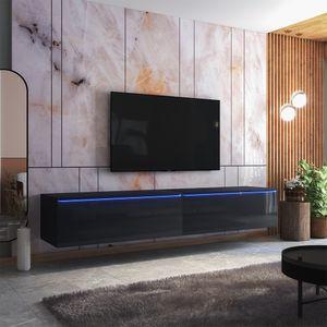 Selsey TV-Lowboard  SKYLARA - TV-Möbel in Schwarz Matt / Schwarz Hochglanz mit LED - 200 cm breit  - stehend / hängend