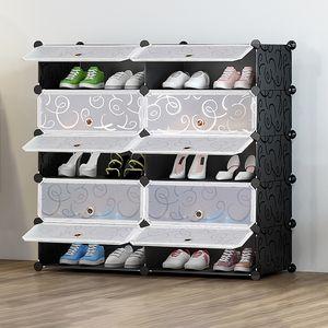 Schuhschrank aus Kunststoff Schuhregale Schuhständer 10 Fächer Regalsystem Schuhablage 90x36x87cm