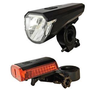ecolle LED Akku Fahrradampen  Fahrradicht  Fahrradeuchten - Set mit Front und Rueckicht  akkubetrieben  wasseresistent  StVZO kompatibe