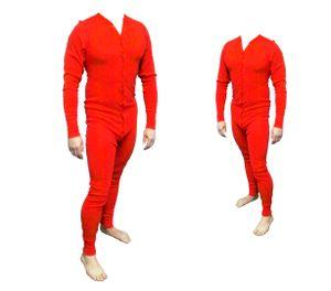 Long John Western Unterwäsche rot Einteiler Baumwolle  - Cowboy Unterhose XL - 54/56