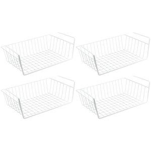4er Set WELLGRO Schrankkörbe zum Einhängen aus Metall - ca. 41 x 25 x 14 cm (LxBxH) - schaffen Sie zusätzlichen Platz - weiß