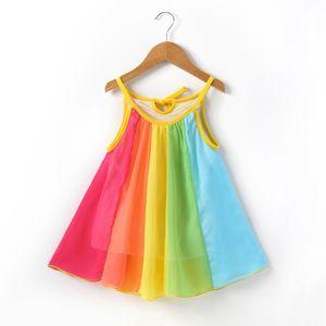 Mädchen 1-5 Jahre Kleinkind Regenbogen Party Kinder Prinzessin Sommerkleider,Farbe:Bunt,Größe:110cm 2-3 Years