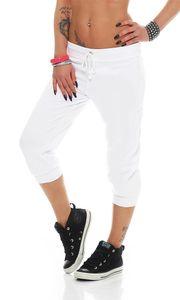 Damen 3/4 Capri Jogginghose Jogging Sport mit Taschen, Weiß S