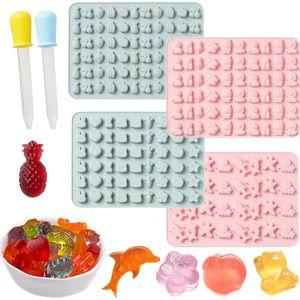 Silikon Süßigkeiten Formen, Gummibärchen Formen, 4 PCS Bunte Gummibärchen Gelee Formen, mit 2 Zufällige Farbe Tropfer