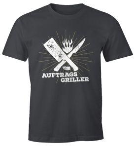 Herren T-Shirt Auftragsgriller Fun-Shirt Grill-Shirt BBQ Moonworks® dunkelgrau XL