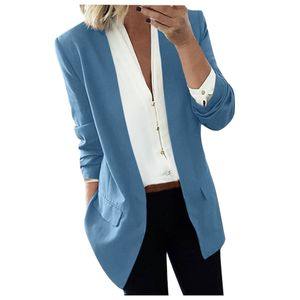 Damen Revers Cape Cloak Long Coat Blazer Damen Casual Büroanzug Outwear Größe:M,Farbe:Light blue
