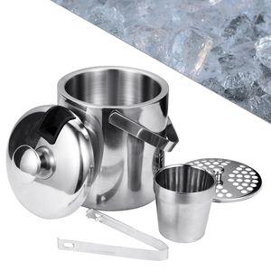 EINFEBEN Eiswürfelbehälter Eiskühler Sektkübel Eiseimer mit Deckel Edelstahl 1.3 Liter