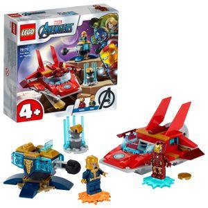 LEGO 76170 Marvel Avengers Iron Man vs. Thanos mit Jet und 2 Superhelden Figuren, Spielzeug ab 4 Jahren