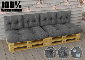 Wasserdicht Palettenkissen Set Palettensofa EPAL Sitzkissen Rückenkissen 120x80 cm 60x40 cm In/Outdoor 6 ER Set - GRAU