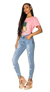 Damen Denim Jeans Stretch Hose Skinny Röhrenjeans Destroyed Pants Risse , Farben:Blau, Größe:38