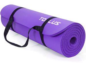 TOPLUS Verdickte Gymnastikmatte e Yogamatte rutschfest und gelenkschonend Sportmatte für Yoga Pilates Sport mit praktischem Trageband Pilatesmatte 183 * 61 * 1 cm,Lila
