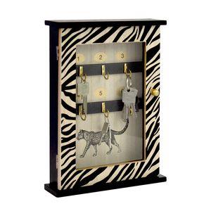 Schlüsselkasten mit 6 Haken 30x22x6cm Zebra-Design Schwarz/Natur