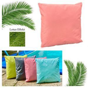 heimtexland ® Outdoorkissen inkl. Füllung Outdoor Lounge Kissen Lotus Effekt Gartenkissen Typ687 Rosa