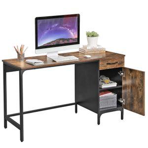 VASAGLE Computertisch mit Schublade und Schrank   ideal für Homeoffice 130 x 75 x 55 cm einfacher Aufbau  Metall Vintage dunkelbraun LWD51X