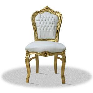 Barock Stuhl Barockstuhl weiß Kunstleder Armlehnstühle Schlafzimmer Esszimmer Büro Stuhl retro premium luxus modern TOP