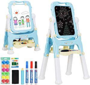 COSTWAY 2 in 1 Kindertafel, Kinder Staffelei doppelseitig, Whiteboard und Kreidetafel, Schreibtafel magnetisch, Standtafel hoehenverstellbar, Spieltafel mit Malzubehoer und grossem Ablagefach Blau