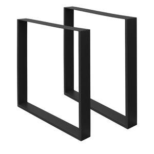 ECD Germany 2 Stück Tischbeine - 60 x 72 cm - aus pulverbeschichtetem Stahl - Schwarz - Industriedesign - Tischgestell Set Tischkufen Tischfüße Tischuntergestell