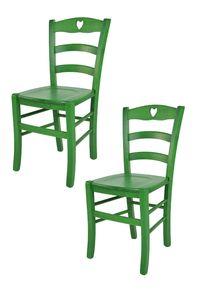 t m c s Tommychairs - 2er Set Stühle CUORE für Küche und Esszimmer, robuste Struktur aus Buchenholz, in Anilinfarbe Grün lackiert und Sitzfläche aus Holz