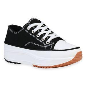 Giralin Damen Plateau Sneaker Keilabsatz Schnürer Profil-Sohle Schuhe 836214, Farbe: Schwarz, Größe: 40