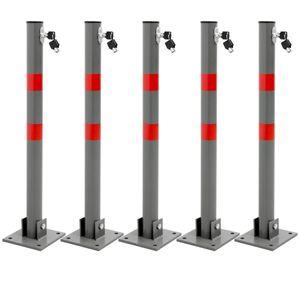 ECD Germany 5x Klappbare Parkpfosten rund 68cm mit roten Warnstreifen und 3 Schlüssel - aus Stahl - Parkplatzsperre Absperrpfosten Sperrpfosten Parkplatz-Barriere Park Pfosten Poller Standfuß