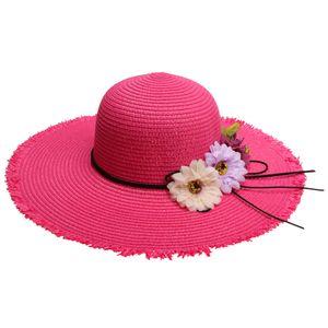 Damen faltbarer Sonnenhut Strohhut Sommerhut Schlapphut Sommer Strand Sonne Hüte breite krempe für Freizeit Urlaub Party Farbe Rose