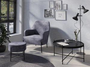 HOMEXPERTS Sessel TIFFY, Polstersessel in Samt anthrazit, Metallbeine schwarz, passender Hocker erhältlich