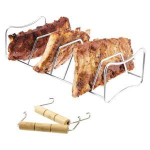 bremermann Spare Ribs- und Bratenhalter, 2in1, aus Edelstahl mit Tragegriffen,  Rippchenhalter