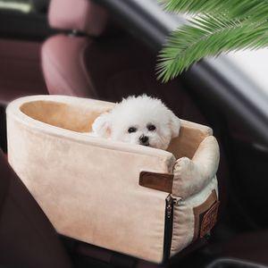 Ovaler Autositz für Haustiere, 22*42*20 cm, cremeweiß, protable Hundesicherheits Anti Schmutz Sitz