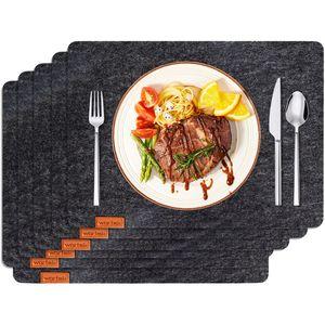 wortek Filz Platzset, 6er Set, Anthrazit - Deko - Tischset abwischbar - 44cm x 32cm - Tisch Platzdeckchen - Tischdecken