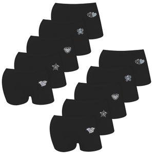 10er Pack Mädchen Pantys Schwarz Strass & Glitzer Baumwolle 1082-Black 152-158 (12-13 Jahre)