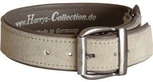 Hundehalsband aus feinstem Leder in vielen Farben von 28-48 cm, Farben:grau, Halsbandgöße:38