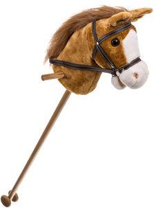 Bieco Steckenpferd Kinder Brownie | ca. 100 cm |  | Holzpferd Draußen & Drinnen | Plüschpferd zum Reiten | Holzpferd für Jungen und Mädchen | Kuschelpferd