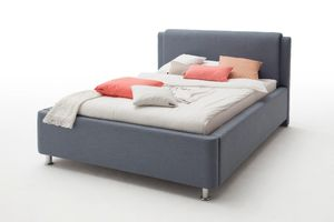 Meise Möbel Bett mit Bettkasten El Paso 140x200 mit Bettkasten Stoff Blau;1230-99-3000