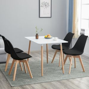 HJ WeDoo Esstisch mit 4 Stühlen(schwarz)Esszimmer Essgruppe 110x70x73cm(Weiß)für Esszimmer Essgruppe Esszimmerstuhl