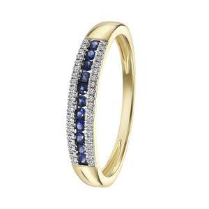 Ring, 585 Gelbgold, Saphir und Diamant 0,06 kt