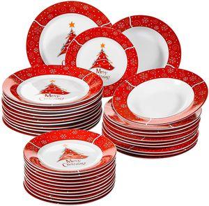 VEWEET, Serie Christmastree, Porzellan Kombiservice, Rund Teller Set, 36 TLG. Set Geschirrservice für Weihnachten