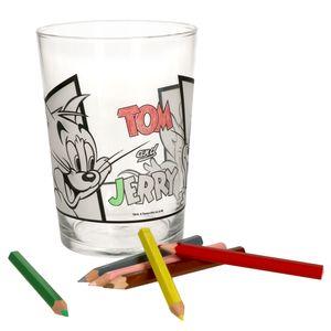 Tom & Jerry Glas zum Anmalen für Kinder selber bemalen Kindergeburtstag Geschenk