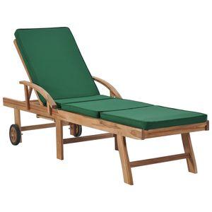 vidaXL Sonnenliege mit Auflage Massivholz Teak Grün