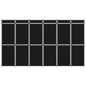 18-Panel Messewand Faltdisplay 362×200 cm Schwarz
