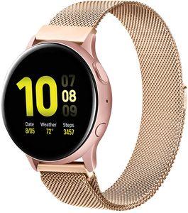 Kompatibel mit Samsung Galaxy Watch Active/Active 2 40mm/44mm Armband, 20mm Edelstahl Metall Uhrenarmband fürGear Sport/S2 Classic/Garmin Vivo Active 3/Watch 3 41mm (20mm, Roségold) Roségold 20mm