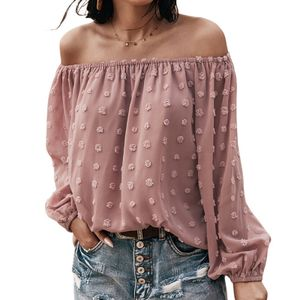 Damen Sommer einfarbig lockeres Top langaermliges atmungsaktives Polyester Party One-Shoulder-Shirt,Pink M