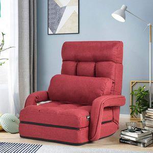 GOPLUS Klappbarer Bodenstuhl mit Armlehnen und Kissen, Comfort Mehrwinkel-Sessel aus Baumwolle, Faules Schlafsofa mit Verstellbarer Rückenlehne für Schlafzimmer, Wohnzimmer, Büro (Rot)