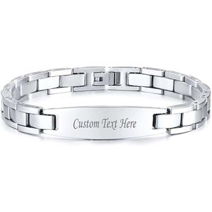 Mllaid  Benutzerdefinierte personalisierte Edelstahl Link ID Armband personalisierten Schmuck Geschenk für Männer DAD Vater