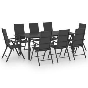 Gartenmöbel Essgruppe 8 Personen ,9-TLG. Terrassenmöbel Balkonset Sitzgruppe: Tisch mit 8 Stühle Schwarz❀2464