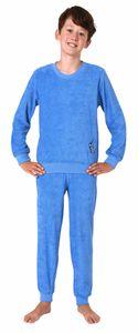Cooler Jungen Frottee Pyjama langarm Schlafanzug mit Bündchen - 62103, Farbe:blau, Größe:128