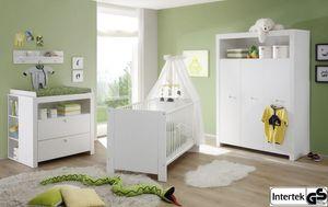 Babyzimmer komplett Set Olivia weiss 5-teilig Kleiderschrank Babybett Wickelkommode 2x Regal