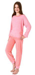 Mädchen Frottee Pyjama langarm mit Bündchen in toller Herz- und Streifenoptik – 291 201 93 198, Farbe:Ringel, Größe:164